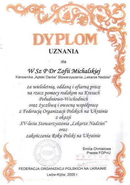 Dr Zofia Michalska Apteka Darów Dyplom
