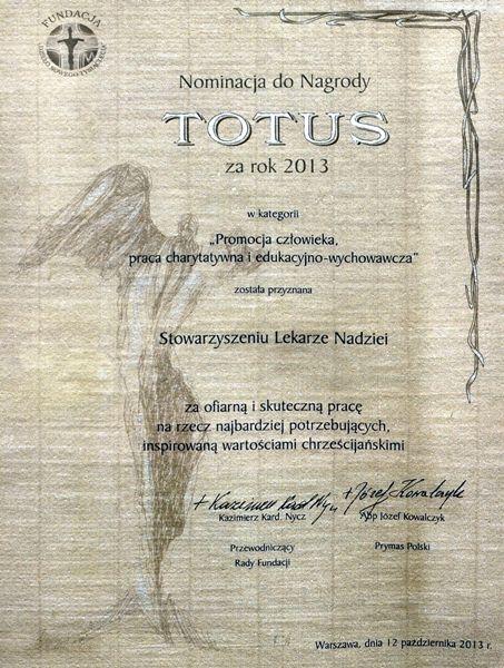 Dyplom Totus 2013