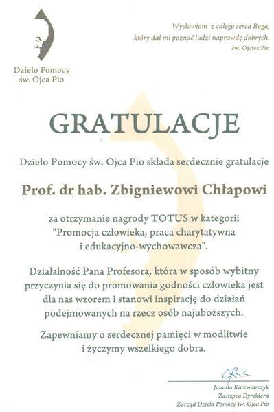 Dyplom Dzieło Pomocy Św. Ojca Pio