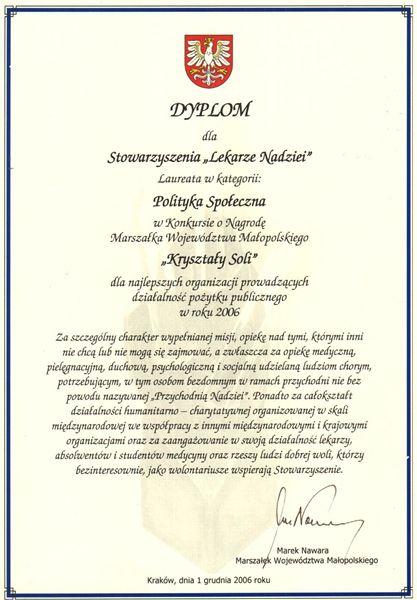 Dyplom Kryształy Soli